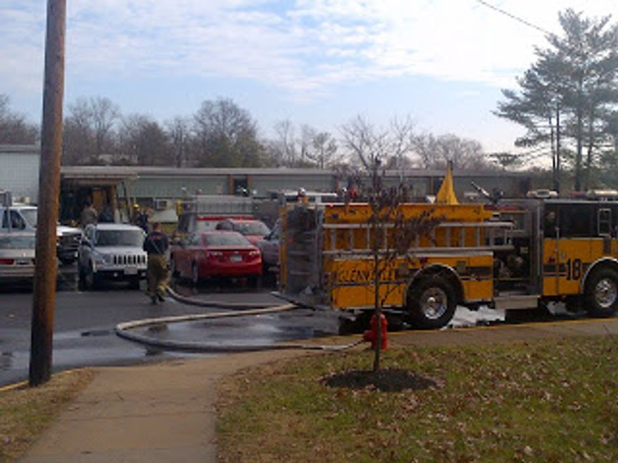 Prince George's County firefighters work to extinguish a fire caused by a malfunctioning boiler at Gaywood Elementary School. Photo from Prince George's County Fire/EMS news blog.