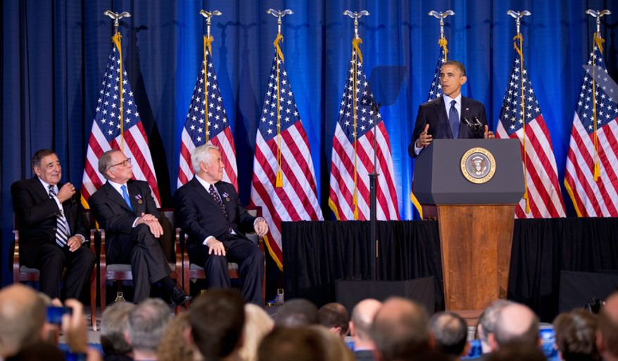 President Obama delivers his speech to the Nunn-Lugar Cooperative Threat Reduction (CTR) symposium at the National Defense University in Washington on Dec. 3, 2012. Seated are (from left) Defense Secretary Leon Panetta and Sens. Sam Nunn and Richard Lugar. (Associated Press)