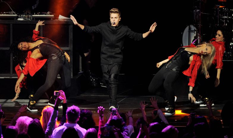 Justin Bieber performs during the second night of KIIS FM's Jingle Ball at Nokia Theatre LA Live on Monday, Dec. 3, 2012, in Los Angeles. (Photo by Chris Pizzello/Invision/AP)