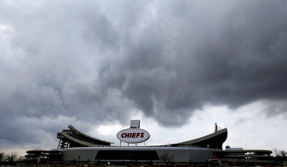 Clouds pass above Arrowhead Stadium, home to the Kansas City Chiefs, on Dec. 3, 2012, in Kansas City, Mo. The team is still recovering from a murder-suicide committed by linebacker Jovan Belcher two days earlier. (Associated Press)