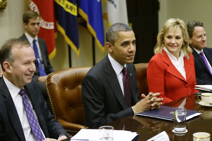 President Obama, flanked by Delaware Gov. Jack Markell, National Governors Association (NGA) Chairman, and Oklahoma Gov. Mary Fallin, NGA Vice Chair, meets Dec. 4, 2012, in the Roosevelt Room at the White House in Washington with the NGA executive committee regarding the fiscal cliff. Treasury Secretary Tim Geithner is at right. (Associated Press)