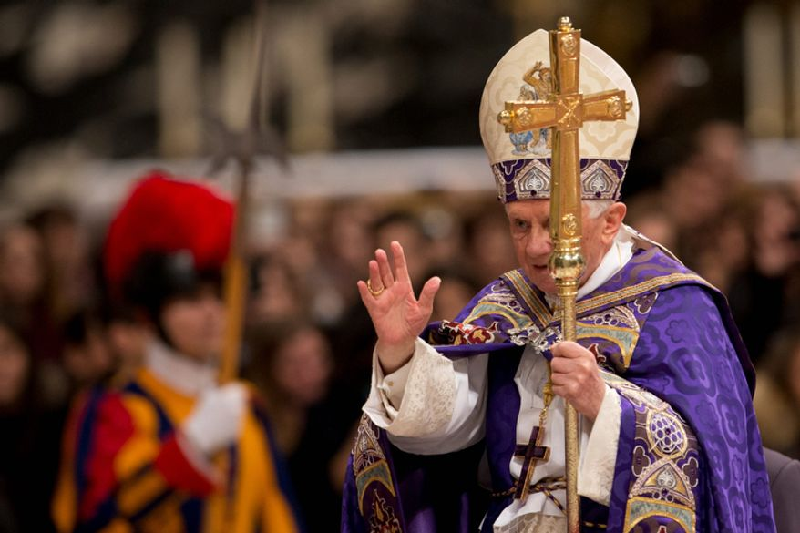 Pope Benedict XVI arrives to celebrate a Vespers prayer in St. Peter's Basilica at the Vatican on Saturday, Dec. 1, 2012. (AP Photo/Andrew Medichini)