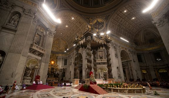 Pope Benedict XVI leads a Vespers prayer in St. Peter's Basilica at the Vatican on Saturday, Dec. 1, 2012. (AP Photo/Andrew Medichini)