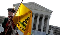 ** FILE ** Tea party supporter William Temple of Brunswick, Ga., protests President Obama's health care law outside the U.S. Supreme Court in Washington on Thursday, June 28, 2012. (AP Photo/David Goldman)