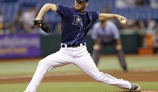 Tampa Bay Rays relief pitcher J.P. Howell delivers to the Oakland Athletics during the seventh inning of a baseball game Saturday, Aug. 25, 2012, in St. Petersburg, Fla. Oakland won 4-2. (AP Photo/Chris O'Meara)