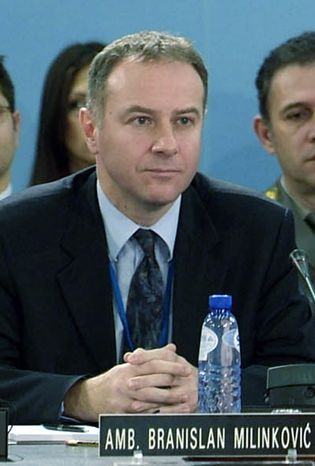 ** FILE ** Branislav Milinkovic, Serbia's ambassador to NATO, is pictured at the alliance's headquarters in  Brussels in 2006. (AP Photo/NATO)