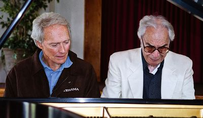 """In this undated photo provided by Hank O'Neal, pianist Dave Brubeck, right, sits beside actor and producer Clint Eastwood. Brubeck, who turns 90 on Monday, Dec. 6, 2010, will celebrate the day by gathering in the family home in the Connecticut woods to watch Turner Classic Movies broadcast """"Dave Brubeck: In His Own Sweet Way,"""" a new documentary directed by Bruce Ricker, produced by Clint Eastwood and narrated by Alec Baldwin. (AP Photo/Hank O'Neal) NO SALES"""