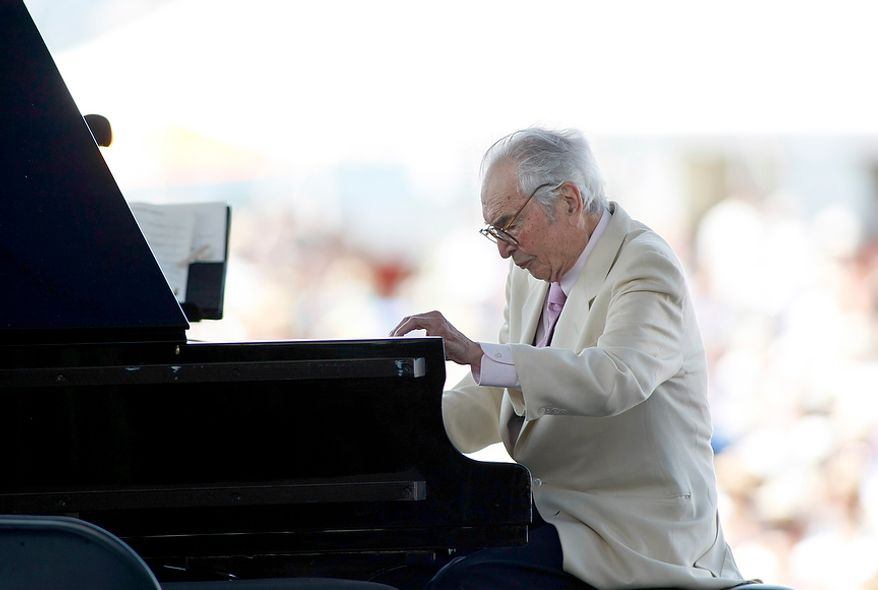 In this Aug. 8, 2010 file photo, Dave Brubeck plays at the CareFusion Newport Jazz Festival in Newport, R.I.  Brubeck is among the featured artists scheduled to return to the festival on Sunday, Aug. 7, 2011. (AP Photo/Joe Giblin, File)