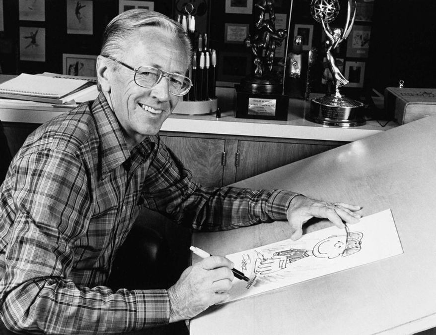 """""""Peanuts"""" cartoonist Charles M. Schulz is pictured in 1978. (AP Photo)"""