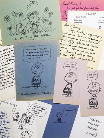 "This photo provided by Sotheby's in New York shows some of the romantic letters and drawings the late ""Peanuts"" creator Charles M. Schulz sent to a young woman 23 years his junior who infatuated him. The love notes"