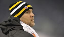 Pittsburgh Steelers quarterback Ben Roethlisberger watches the action from the sidelines during the first half of an NFL football game against the Baltimore Ravens in Baltimore, Sunday, Dec. 2, 2012. (AP Photo/Gail Burton)