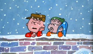 "Charlie Brown and Linus are in a pensive mood for the holiday in ""Charlie Brown Christmas."""
