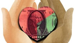 Illustration Charitable Giving by Linas Garsys for The Washington Times