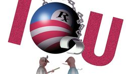 Illustration Medical Fiscal Cliff by Alexander Hunter for The Washington Times