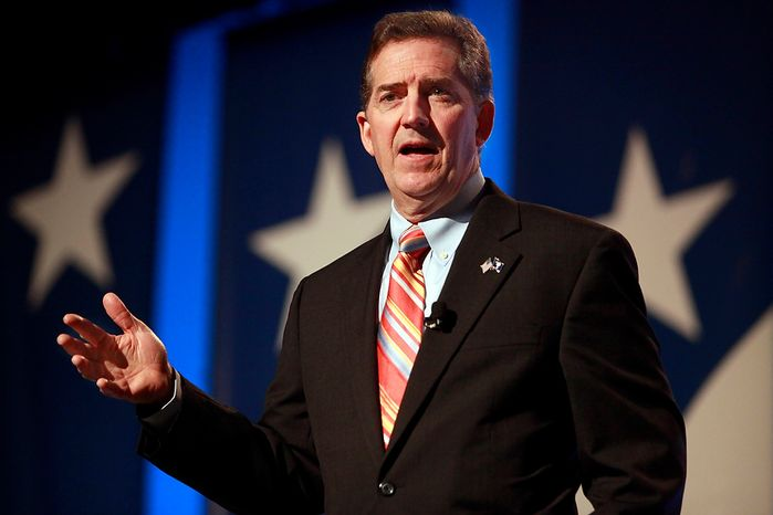 Sen. Jim DeMint speaks to the Values Voter Summit, sponsored by the Family Research Council, on Sept. 17, 2010, in Washington. With his hefty campaign account and staunch conservatism, Mr. DeMint has used the midterm elections to vault from first-term U.S. senator to rainmaker of the nation's tea party. (AP Photo/Jacquelyn Martin)