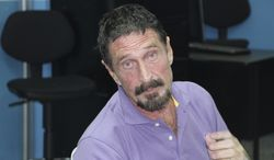 Software company founder John McAfee is pictured on Wednesday, Dec. 5, 2012, in Guatemala City after being arrested for entering Guatemala illegally. (AP Photo/Guatemalan National Police) ** FILE **
