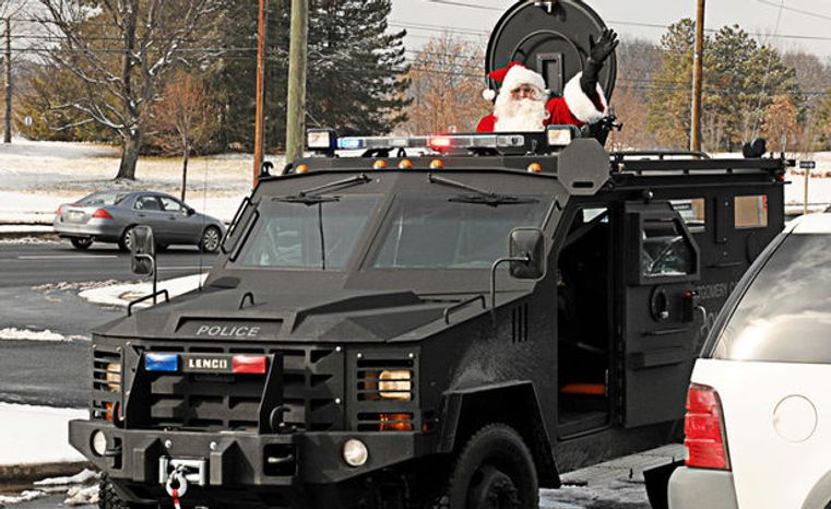 An armored vehicle like the ones Homeland Security Department grants have helped buy for various urban communities. This vehicle belongs to Montgomery County, Maryland, which declined to say