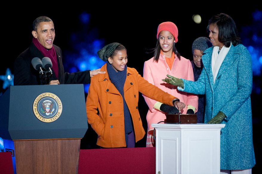 President Obama and the first family light the National Christmas Tree on the Ellipse2. (Andrew Harnik/The Washington Times)