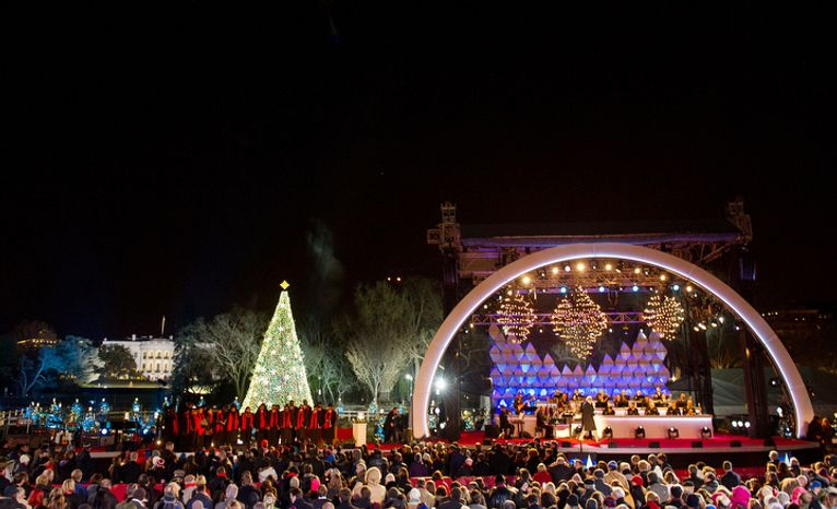 President Obama and the first family light the National Christmas Tree on the Ellipse south of the White House, Washington, D.C., Thursday, December 6, 2012. (Andrew Harnik/The Washington Times)