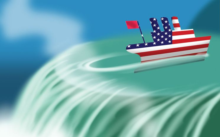 Illustration Turning Away from the Fiscal Cliff by Alexander Hunter for The Washington Times