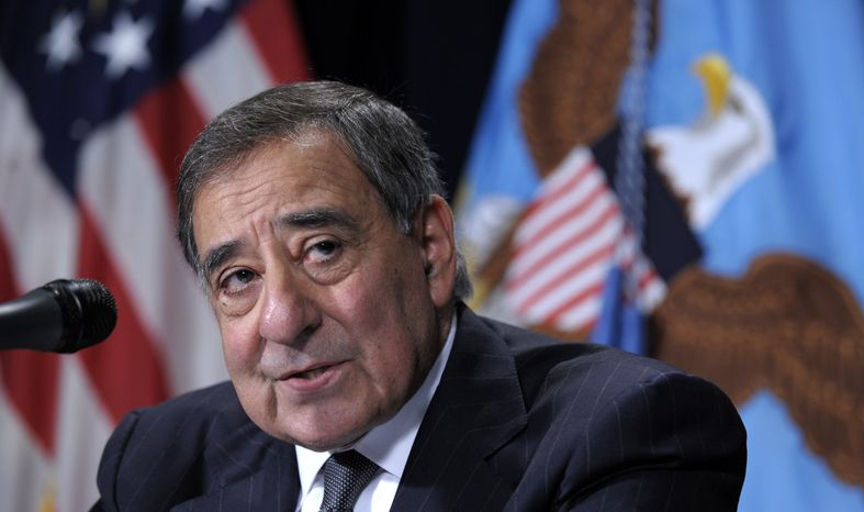 Defense Secretary Leon Panetta speaks during a joint news conference with Veterans Affairs Secretary Eric Shinseki at the Ve
