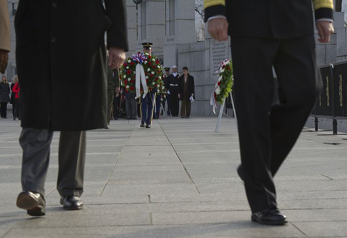 A total of nine wreaths were laid at the National World War II Memorial in Washington, D.C. on Friday, Dec. 7, 2012 for National Pearl Harbor Remembrance Day. Today marks the 71st