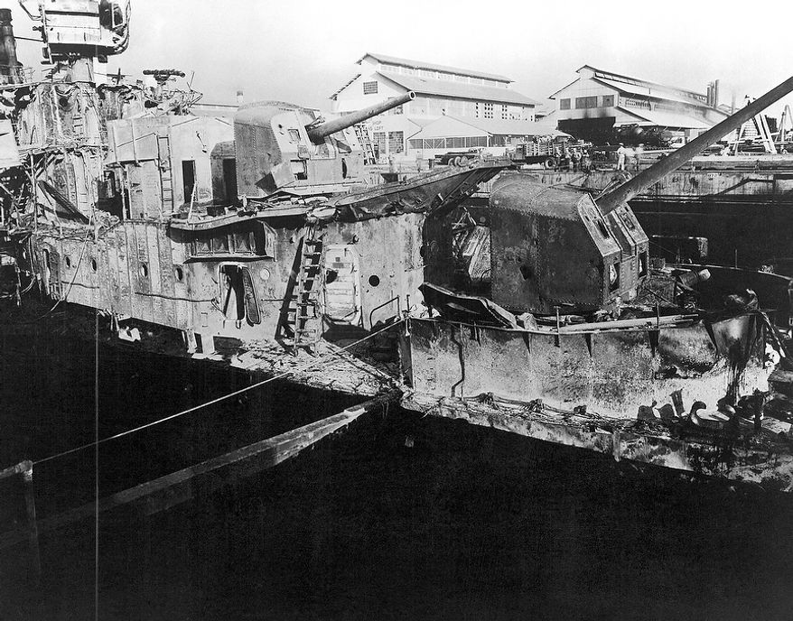 In this image provided by the U.S. Naval Historical Center, USS Downes (DD-375) in dry dock No. 1, Pearl Harbor Navy Yard, Hawaii in December 1941, where she was struck by enemy bombs during the Japanese raid on Dec. 7, 1941. (AP Photo/U.S. Naval Historical Center)