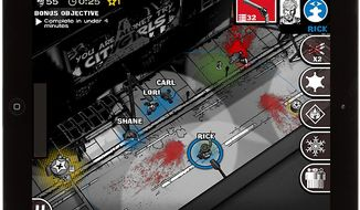 A solo player enjoys squad-based action in the iPad game The Walking Dead: Assault.