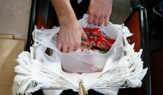 ** FILE ** This Dec. 9, 2012, file photo shows an example of plastic bags used by many retailers. (Associated Press)
