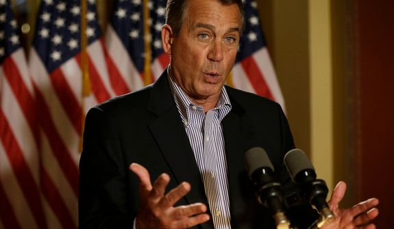 """**FILE** House Speaker John Boehner, Ohio Republican, speaks Dec. 7, 2012, during a news conference on Capitol Hill in Washington to discuss the pending """"fiscal cliff."""" (Associated Press)"""