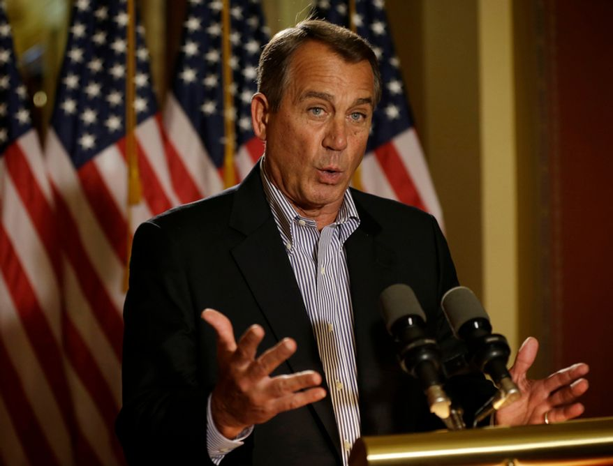 "**FILE** House Speaker John Boehner, Ohio Republican, speaks Dec. 7, 2012, during a news conference on Capitol Hill in Washington to discuss the pending ""fiscal cliff."" (Associated Press)"
