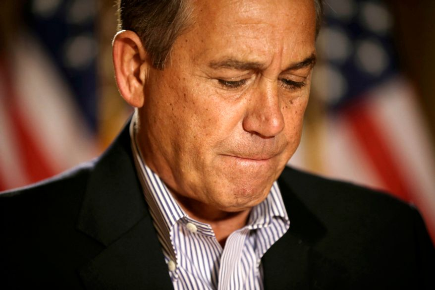 "**FILE** House Speaker John Boehner, Ohio Republican, pauses Dec. 7, 2012, during a news conference on Capitol Hill in Washington to discuss the pending ""fiscal cliff."" (Associated Press)"