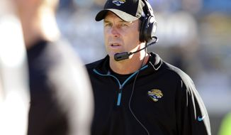 Jacksonville Jaguars head coach Mike Mularkey paces the sidelines during the second half of an NFL football game against the Tennessee Titans, Sunday, Nov. 25, 2012, in Jacksonville, Fla. The Jaguars beat the Titans 24-19. (AP Photo/Stephen Morton)