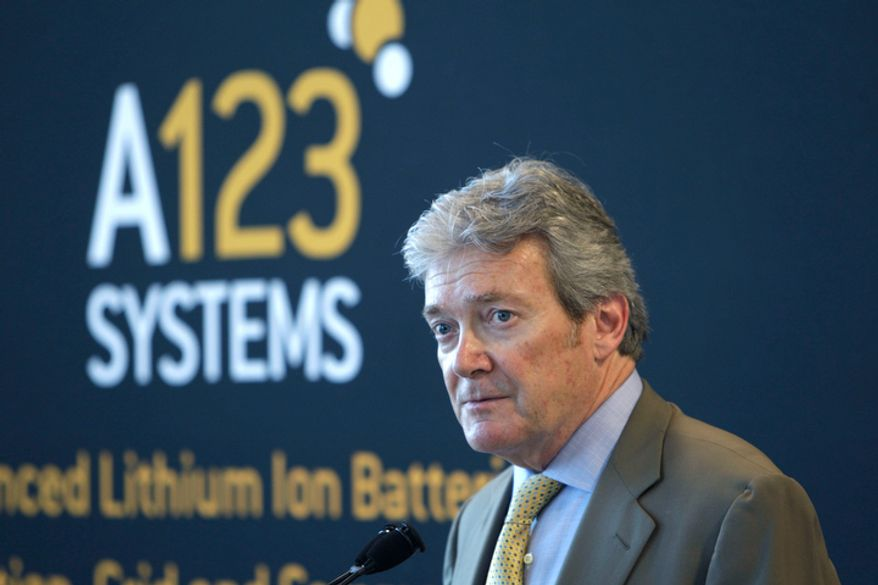 **FILE** A123 Systems President and CEO David Vieau addresses the media July 18, 2011, in Romulus, Mich. (Associated Press)