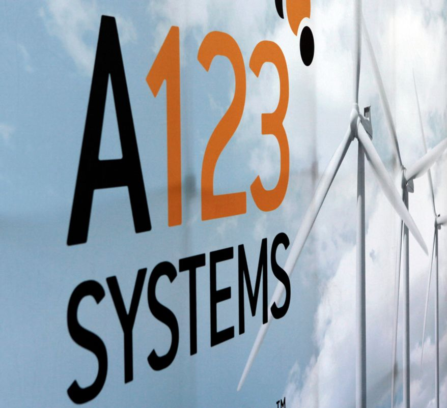 ** FILE ** An A123 Systems Inc. logo is shown in Livonia, Mich., in 2009. (Associated Press)