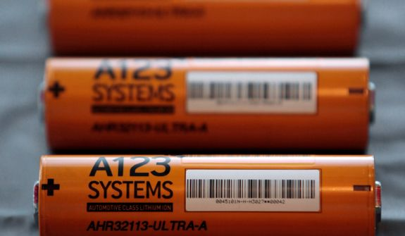 **FILE** A123 Systems Inc. high power Nanophospate Lithium Ion Cell for Hybrid Electric Vehicles batteries are shown Aug. 6, 2009 in Livonia, Mich. (Associated Press)