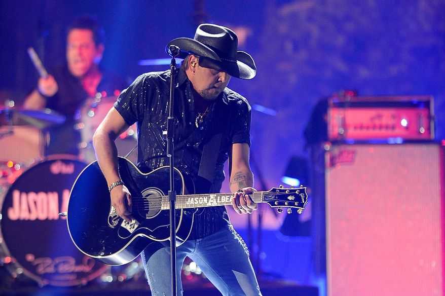 Jason Aldean performs during the American Country Awards on Monday, Dec. 10, 2012, in Las Vegas. (Al Powers/Powers Imagery/Invision/AP)