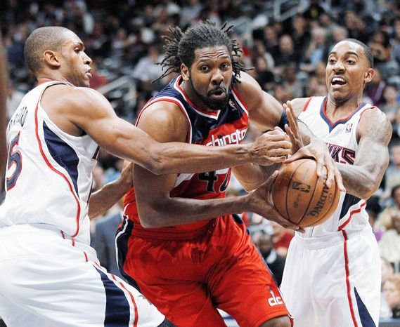 associated press  Nene posted his first double-double of the season Tuesday night, scoring 10 points and grabbing 10 rebounds in a 77-70 victory New Orleans.