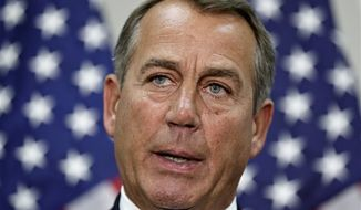 ** FILE ** Speaker of the House John Boehner, Ohio Republican, speaks to reporters at the U.S. Capitol in Washington, Wednesday, Nov. 28, 2012. (AP Photo/J. Scott Applewhite)