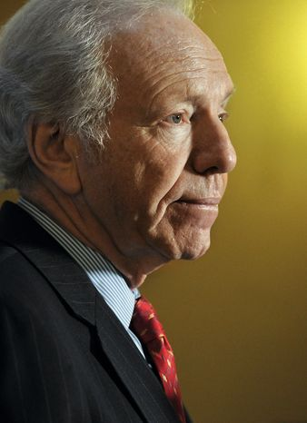 **FILE** Sen. Joseph Lieberman of Connecticut speaks Dec. 10, 2012, during a news conference at the state capitol in Hartford, Conn. (Associated Press)
