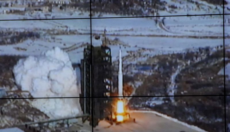 An Unha-3 rocket lifts off from a launch site in the village of Tongchang-ri, about 35 miles from Dandong, North Korea, on Wednesday, Dec. 12, 2012, in this monitor screen image taken and released by the Korean Central News Agency. (AP Photo/Korea Central News Agency via Korea News Service)