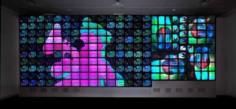 """Nam June Paik, """"Megatron/Matrix"""", 1995, eight-  channel video installation with custom electronics;  color, sound, Smithsonian American Art Museum,  Museum purchase made p"""