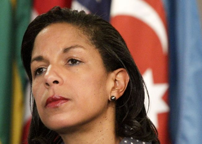 **FILE** U.S. Ambassador to the United Nations Susan Rice listens June 7, 2012, during a news conference at the U.N. headquarters in New York. (Associated Press)