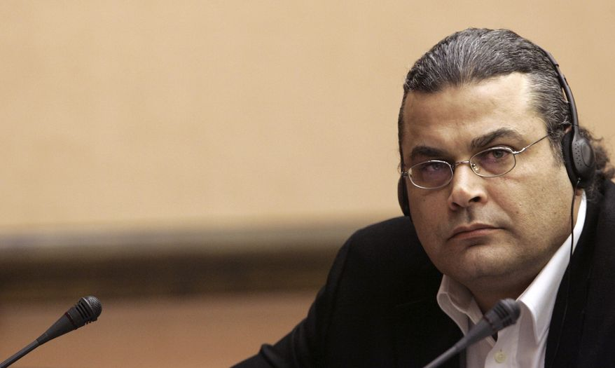 ** FILE ** Khalid al-Masri, a German who says CIA agents abducted him and transported him to Afghanistan, attends a meeting of the European Parliament committee investigating claims of U.S. secret prisons and flights in Europe at the European Parliament in Strasbourg, France, in 2006. (AP Photo/Christian Hartmann)