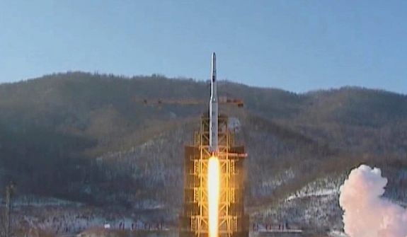 In this image made from video, a Unha-3 rocket is launched on the outskirts of Pyongyang on Dec. 12, 2012. A satellite that North Korea launched on board a long-range rocket is orbiting normally, South Korea said, following a defiant lift-off that drew a wave of international condemnation. (Associated Press/KRT via AP Video)