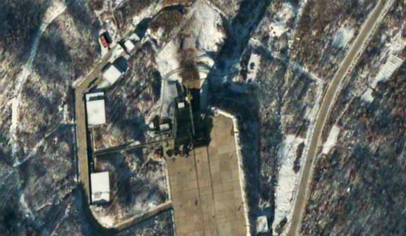 This satellite image provided by DigitalGlobe shows the Sohae Satellite Launching Station in Tongchang-ri, North Korea, 54 minutes after a long-range Unha-3 rocket was successfully launched on Dec. 12, 2012. (Associated Press/DigitalGlobe)