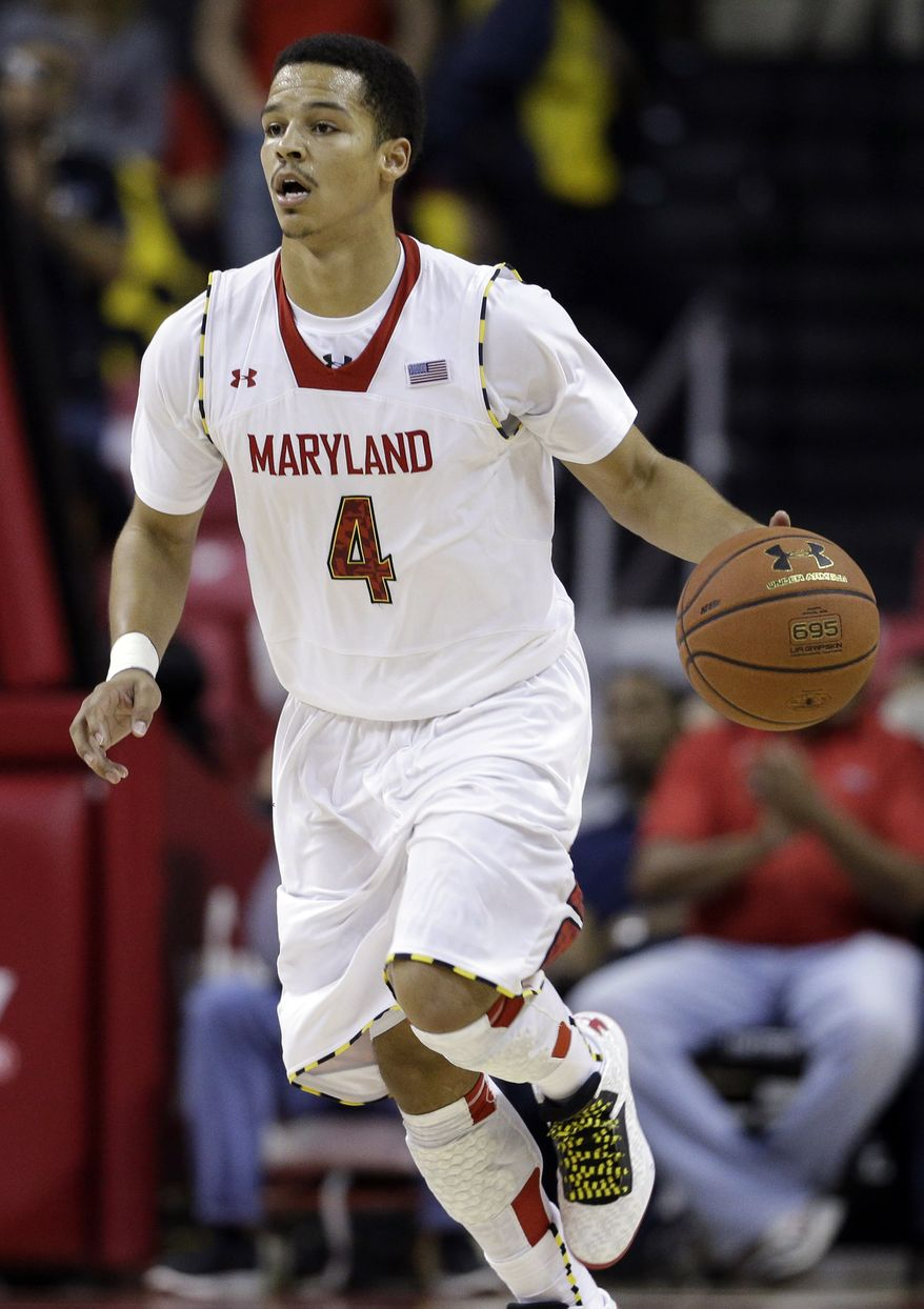 Maryland guard Seth Allen drives against South Carolina State in the second half of an NCAA college basketball game in College Park, Md., Saturday, Dec. 8, 2012. (AP Photo/Patrick Semansky)