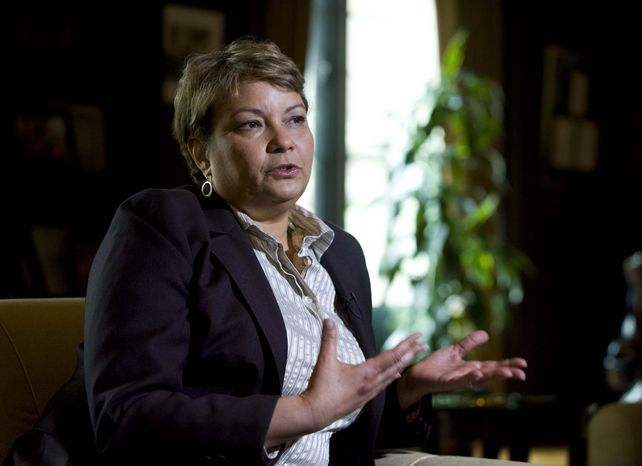 **FILE** Environmental Protection Agency Administrator Lisa Jackson gestures during an interview April 17, 2012, with The Associated Press at the agency's Washington headquarters. (Associated Press)