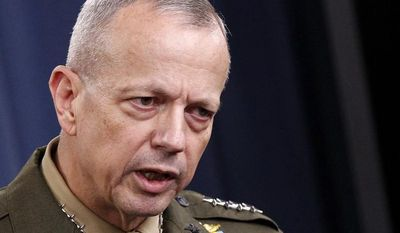 ** FILE ** Marine Gen. John R. Allen, commander of the International Security Assistance Force in Afghanistan, speaks during a news conference at the Pentagon on Wednesday, May 23, 2012. (AP Photo/Haraz N. Ghanbari)