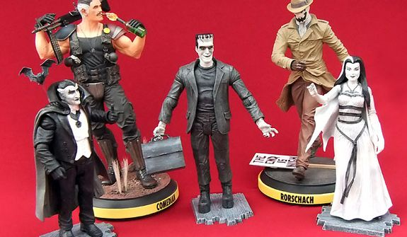 Gift ideas for the collector include Diamond Select Toys' The Munsters Family with Grandpa, Herman and Lily action figures and DC Entertainment's The Comedian and Rorschach statues. (Photograph by Joseph Szadkowski)